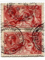 Pair of 5 Shilling reds SG416
