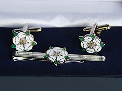 Yorkshire White Rose Cufflink and Tiepin Set