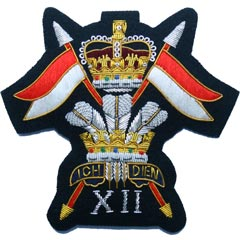 12th Royal Lancers QC Wire Blazer Badge