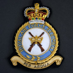 RAF Regiment wire blazer badge, alt design