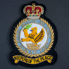 RAF 2nd Tactical Air Force wire blazer badge