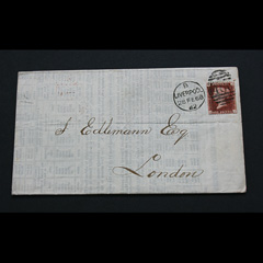 Postally Used Penny Red 1868 on Piece