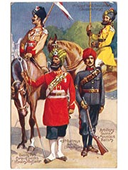 Indian Army Soldiers and Uniforms Art Postcard