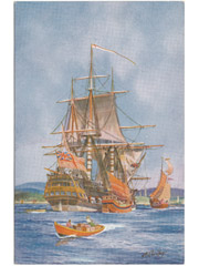 East India Company Ship Art Postcard Image 2