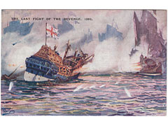 Art postcard of the naval ship Revenge