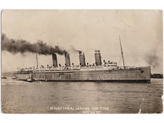 Mauretania Leaving the Tyne Postcard