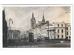 Castle Street and Town House - Aberdeen Postcard