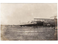 Battleship Katori launching photographic postcard
