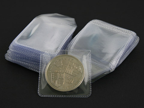 Clear plastic coin wallets