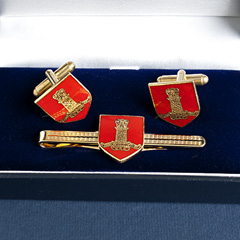 11th Hussars cufflinks and tiepin set