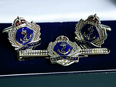 Royal Navy Shield Cufflink Tiepin set