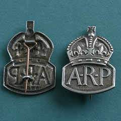 ARP Air Raid Precautions Badge Silver - Pin