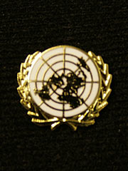 United Nations white Lapel Badge