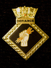 HMS Defiance navy crest lapel badge