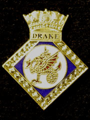 HMS Drake navy crest lapel badge