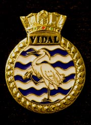 HMS Vidal navy crest lapel badge