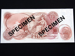 Ten Shilling Red-Brown Banknote from 1960's