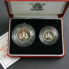 1990 Five Pence Silver Proof Two Coin Set