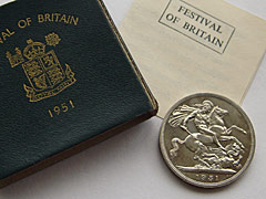 1951 Festival of Britain Crown GeoVI Green Box