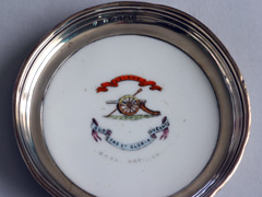 Aynsley silver and enameled RA ashtray