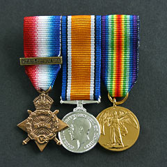 WW1 Mons Trio Mounted Miniature Medal Group