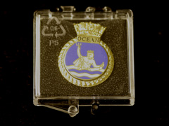 Boxed Royal Navy ships crest lapel badge